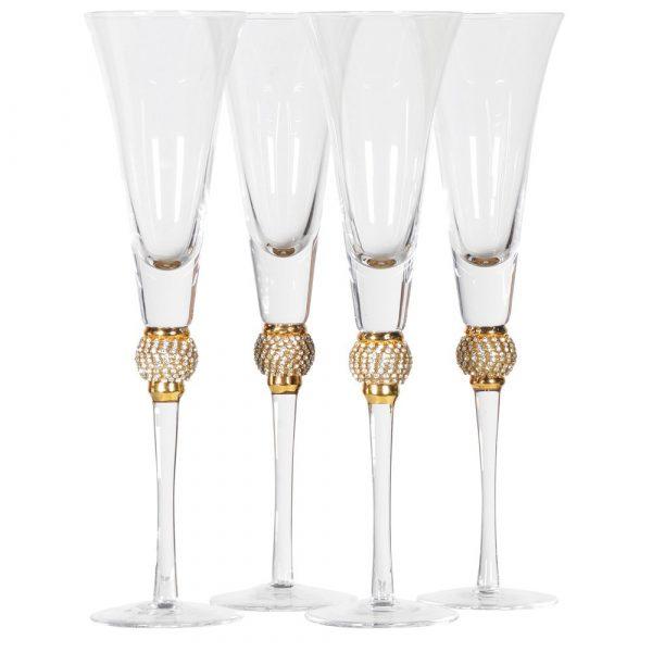 Set of 4 Gold Diamante Ball Champagne Glasses