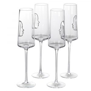 Set of 4 Silver 'Face' Crystal Flutes