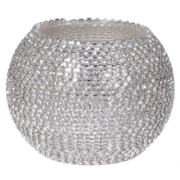 Silver Diamante Votive Holder