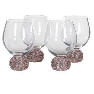 Set of 4 Round Gold Diamante Water Glasses