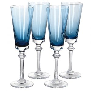 Set of 4 Blue Flute Glasses