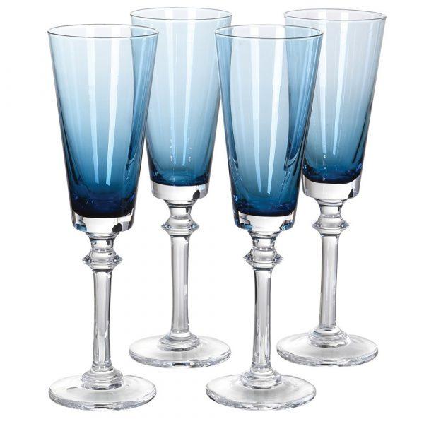 Set of 4 Blue Flute Glasses