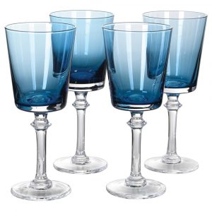 Set of 4 Blue Red Wine Glasses