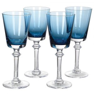 Set of 4 Blue White Wine Glasses