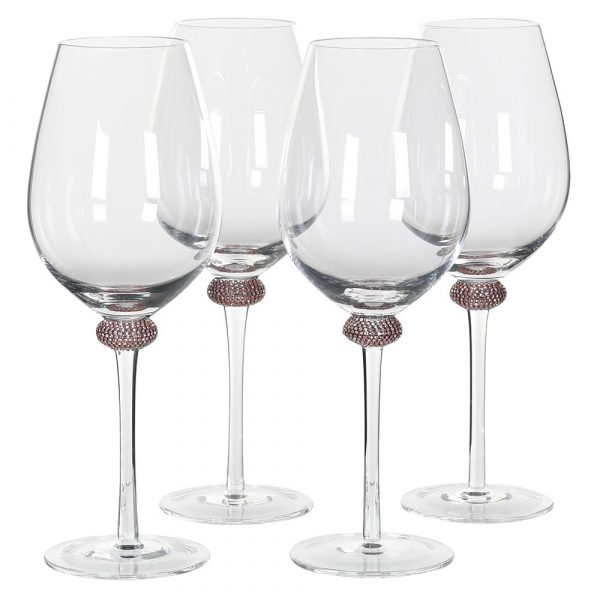 Set of 4 Pink Gold Diamante Red Wine Glasses