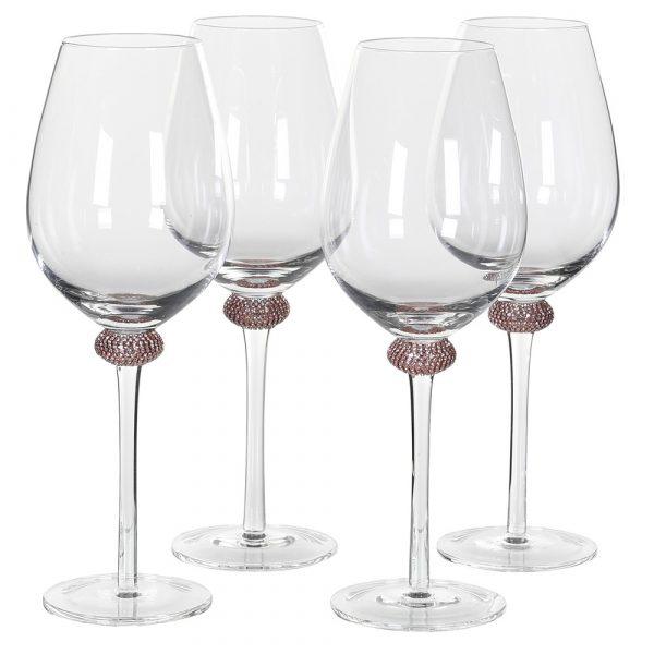 Set of 4 Pink Gold Diamante White Wine Glasses