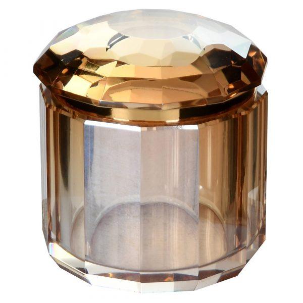 Large Amber Crystal Trinket Box