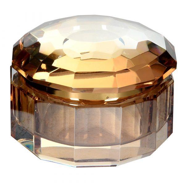 Small Amber Crystal Trinket Box