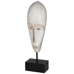Distressed White Mask On Stand