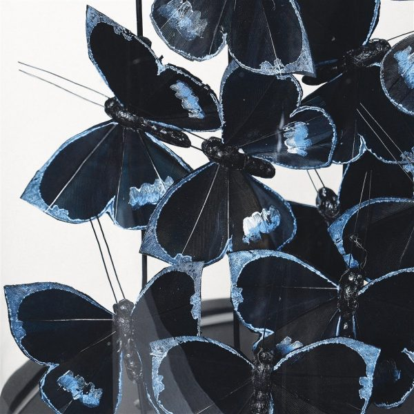 Black And Silver Butterflies Glass Dome