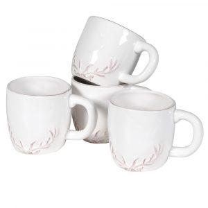 Set of 4 Antler White Ceramic Mugs