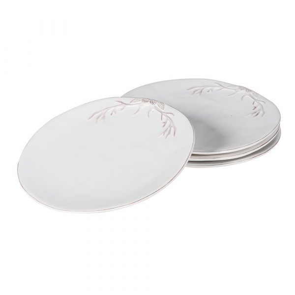 Set of 4 Antler White Side Plate