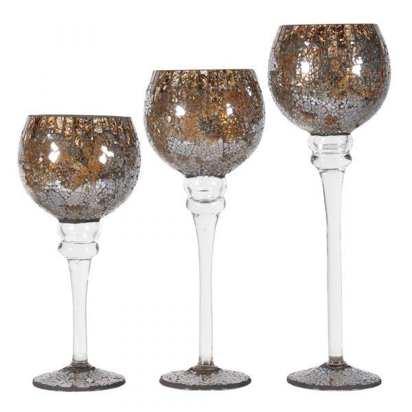 Set of 3 Crackle Candleholders